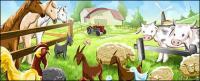 Ilustraciones de dibujos animados de granja psd capas de material