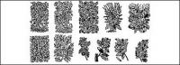 Elementos do materiais vegetal vetor de preto e branco