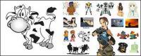 Personajes de dibujos animados, material de vectores animales.