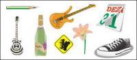 Crayons, guitare, fleurs, calendrier, matériel de vecteur de chaussures