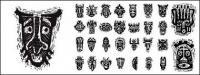 アフリカ部族マスク絵画材料ベクトル