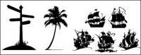 Señalización vial, cocoteros, icono material de vela