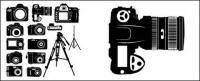 Векторные силуэты черно-белой цифровой камеры