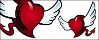 With wings and tail of the heart-shaped vector material
