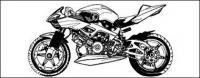 黒と白のオートバイのベクター素材