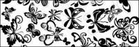 Vector de elemento de mariposa de blanco y negro