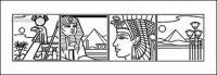 Ägypten 4 Raster Strichzeichnung Vektorkarte