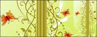 Patrones de fondo y mariposa Vector