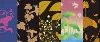 ベクトルの伝統的な絵画シリーズ 2 花の植物