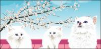 Material de vetor de gato branco