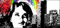 Vetor de padrões de arco-íris cidade