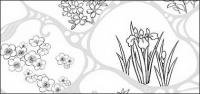Dessin vectoriel de fleurs-47(Flowing water, flowers, leaves)