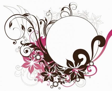 marco de círculo con decoraciones florales vector graphic