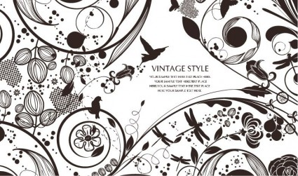 latar belakang floral vector gaya vintage