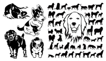 vector silhouette chien noir et blanc