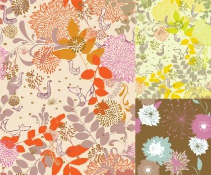 plantes et animaux colorés silhouette vecteur
