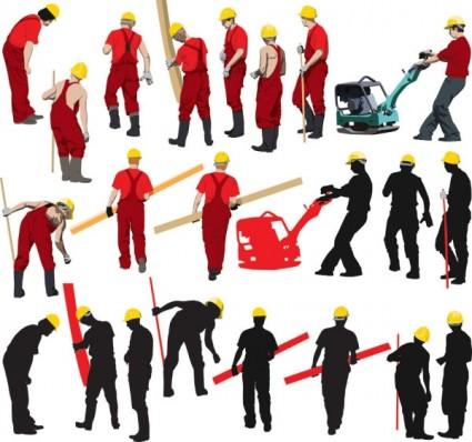 シルエット画像ベクトルと労働者