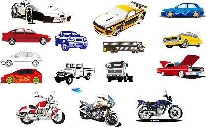 15 Векторный мотоциклов и автомобилей