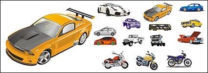автомобиль и мотоцикл Вектор материал