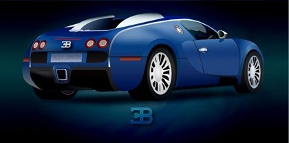 azul ilustrar coche con render brillante