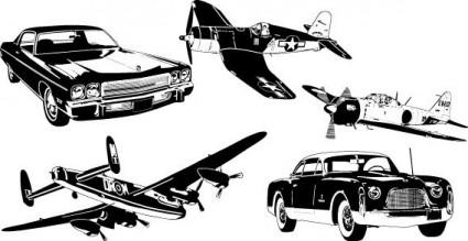 coches y aviones vector