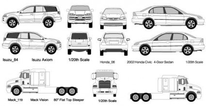 voitures et camions le vecteur