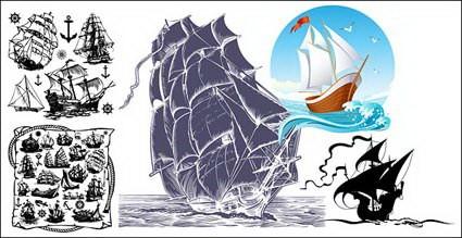 vela barco vector tema