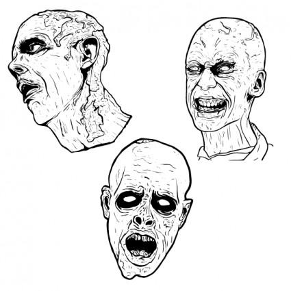 3 gratis ilustrado gráficos vectoriales de terror zombie