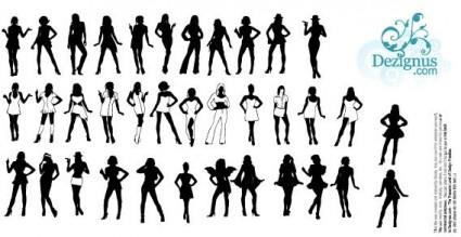 vector de siluetas de chicas hermosas