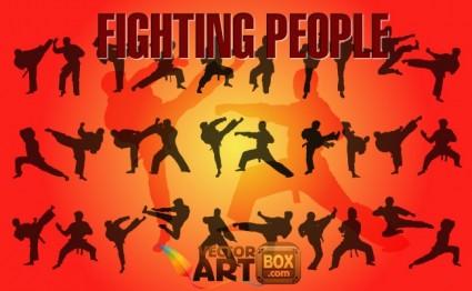as pessoas a lutar