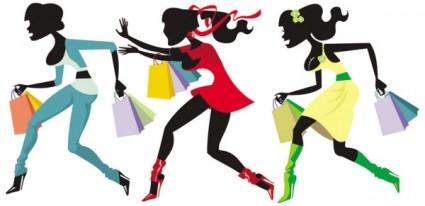vetor de garota compras