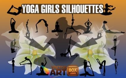 silhouettes de filles d'yoga