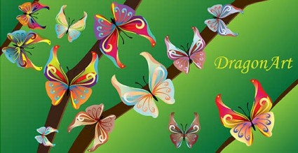 14 色蝶ベクトル
