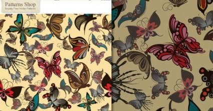 無料のベクター蝶シームレス パターン
