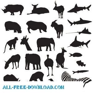 свободный вектор пакет сафари и Зоопарк животных ложкой