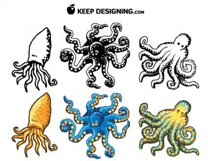 Осьминог дизайн векторные бесплатно