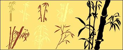 siluetas de bambú de vectores de material