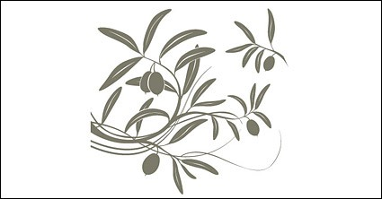 フルーツの木の枝のシルエットのベクター素材