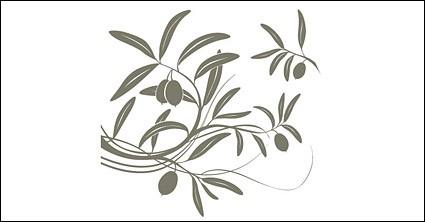 fruta de árvore ramos silhuetas vetor material
