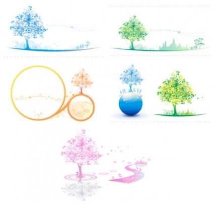 vecteur des arbres colorés doux