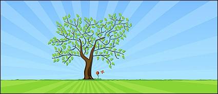 Векторный цветок деревья газон материал
