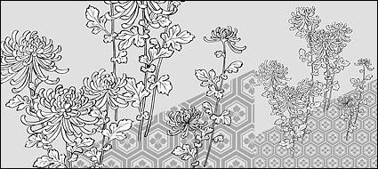 dibujo lineal del vector de fondo de las flores del crisantemo