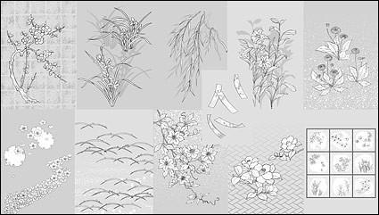 タンポポの花ユリのベクトル線の描画