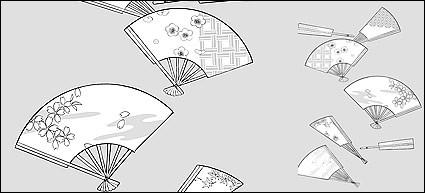 vecteur ligne dessin de fleurs fan cherry plum blossom classique motifs de fond
