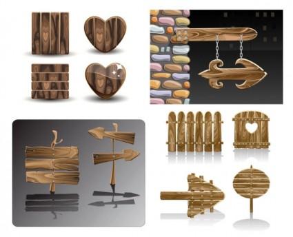 vectores de señales de madera maravillosamente realista