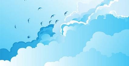 nature oiseaux silhouettes ciel nuages vecteur libre