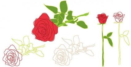 प्रकृति गुलाब फूल पत्ती रूपरेखा