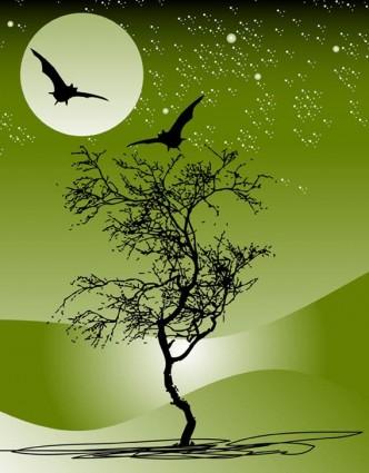 自然木月バット夜シーン星