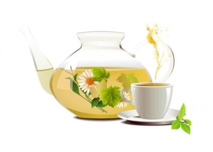 realista vector de taza y tetera
