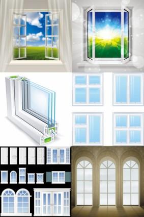 realistis vektor jendela dan pintu